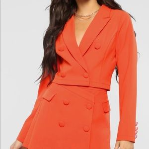 Orange suit skirt set